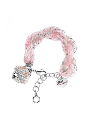 Bracciale Ottaviani torcion rosa e argentato